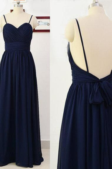 2016 Spaghetti Straps Navy Blue Evening Dresses Long Elegant Prom Dress Robe De Soiree Formal Gowns