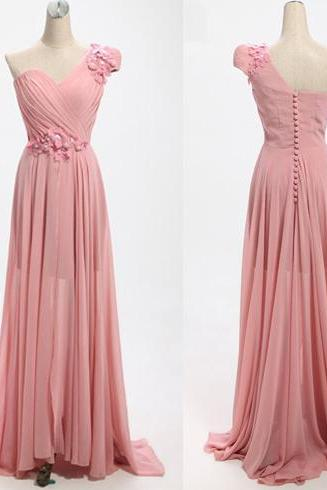 Elegant Chiffon Floor Length One Shoulder Pink Prom Dress , Party Dresses, Evening Dresses, Long Prom Dress 2016,Graduation Dresses