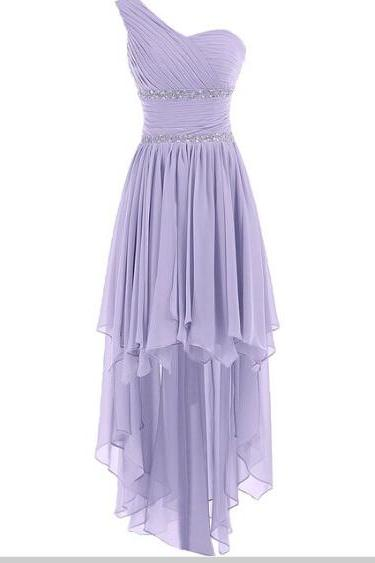 Sexy Zipper Lavender Chiffon Bridesmaid Dress,High Low Zipper Bridesmaid Dresses,Sexy High Low Cheap Prom Dresses Party Evening Gown