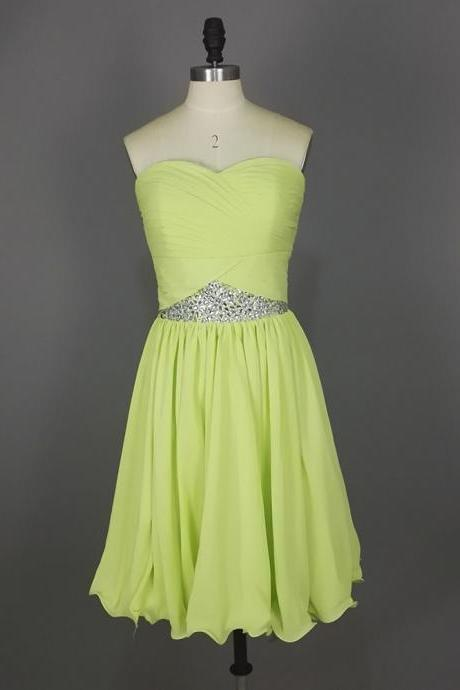 prom dresses,Short Yellow-Green Prom Dresses,Chiffon Prom Dresses,2016 Cheap prom dresses,Short Evening Dress,Graduation Dresses, Homecoming Dresses, Cocktail Dresses,Formal Gowns