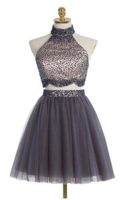 Grey Two-Piece Homecoming Dress Featuring Short Tulle A-Line Skirt and a Beaded Embellished High Neck Crop Top with Scallop Hem