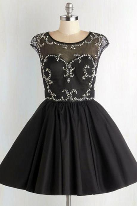 Black Short Homecoming Dress Featuring Beaded Embellished Bateau Neckline and Cap Sleeves Bodice