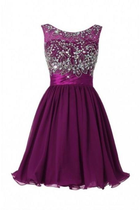 New Arrival Mini Grape Purple Royal Blue Chiffon Evening Dress , Graduation Dresses 2016,Party Dresses,Evening Dresses, Short Prom Dress 2016