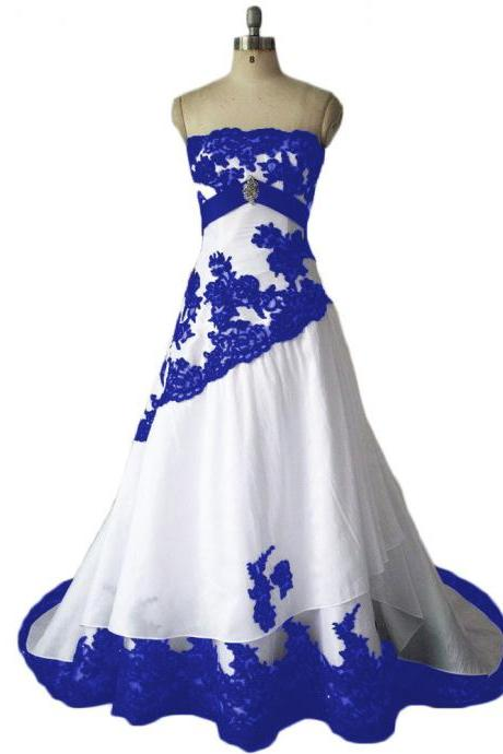 Wedding Dresses,Royal Blue Wedding Dresses,Taffeta Wedding Dress,Bridal Dresses,Wedding Dress,2016 Wedding Dresses,Strapless Wedding Dress, Vintage Wedding Dresses,Wedding Gowns,Bridal Gown