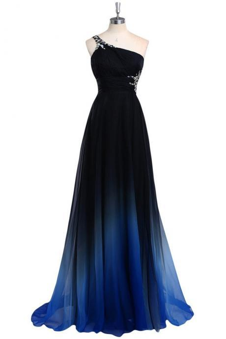 One Shoulder Gradient Floor Length A-Line Evening Dress Featuring Cut Out Back Detailing - Prom Dress