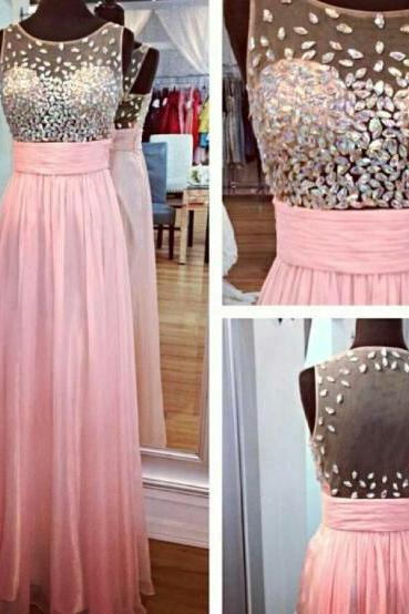 Sexy Chiffon Pink Crystal A Line Prom Gowns, Pink Prom Dresses,A Line Prom Dresses 2016