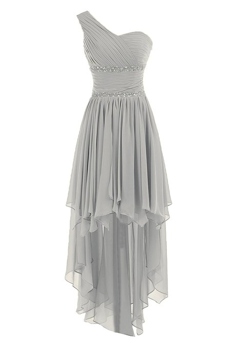 Grey One Shoulder Chiffon Ruched High Low Evening Dress with Beaded Embellishment