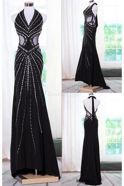 Black Chiffon Halter Prom Dresses With Illusion Waist AB Stones,Sexy Backless Formal Gowns 2016