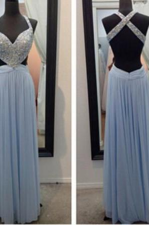 Sexy Blue Prom Dresses Beaded Backless Chiffon Evening Gowns