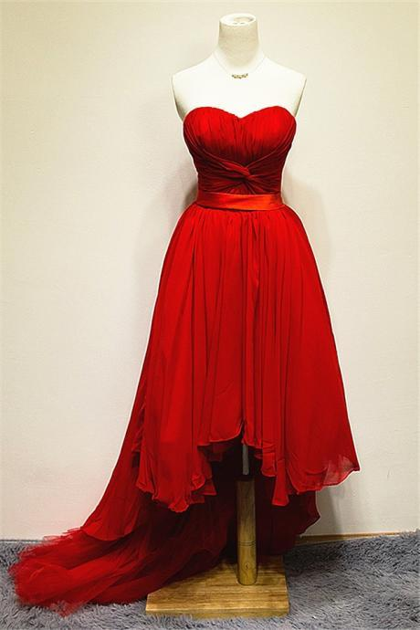 Fashion Sweetheart High Low Red Chiffon Prom Dresses With Court Train ,2016 Long Chiffon Evening Gowns