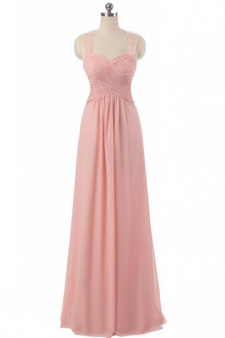 Pink Chiffon Prom Dresses With Lace Straps And Ruched Bodice, Handmade Floor Length Sweetheart Evening Gowns, Top Quality Formal Dresses