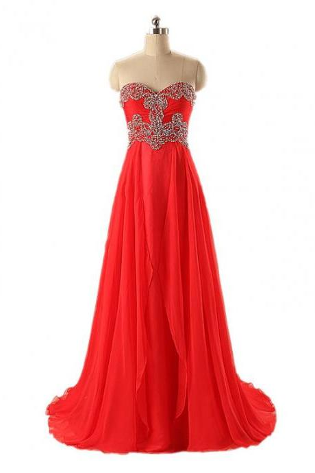 New Arrival Strapess Red Prom Dresses Long Chiffon Sweetheart Beaded Evening Gowns - Formal Dresses, Party Dresses