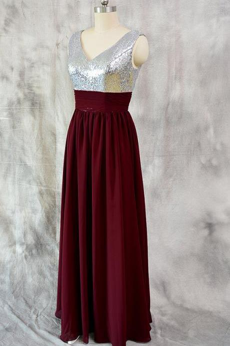Luxury Sparkly Sequined V Neck Chiffon Burgundy Formal Dresses - Evening Gowns, Prom Dresses