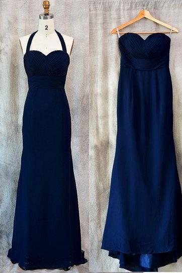 Royal Blue Halter Mermaid Chiffon Prom Dresses , Floor Length Simple Ruched Evening Gowns - Formal Gowns, Party Dresses
