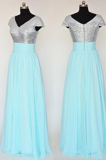 Light Blue V Neck Sequined Prom Dresses , Cap Sleeve Chiffon A Line Evening Gowns - Formal Gowns, Party Dresses