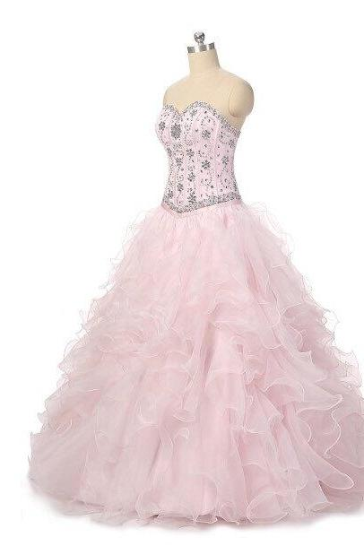 Pink Floor Length Ruffle Organza Quinceanera Gown Featuring Sweetheart Beaded Bodice