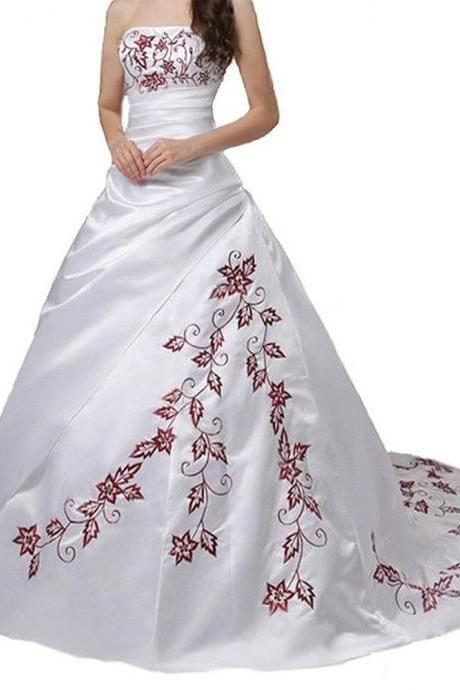 2016 White Maple Leaf Embroidered Wedding Dresses Long Satin Sweetheart Strapless Bridal Dresses Wedding Gowns With Chapel Train