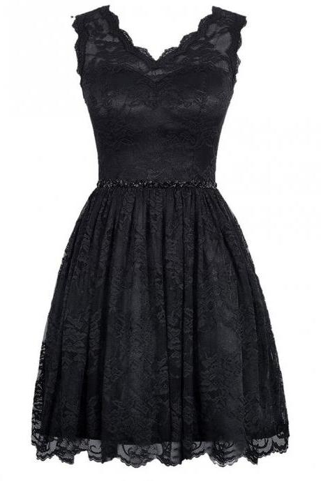 V Neck Black Lace Homecoming Dresses,Short Black Dressses, Simple Short Prom Dresses,Mini Dresses