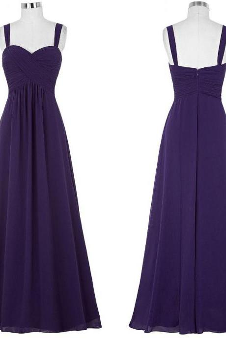 Plus Size Purple Prom Dress,Long Elegant Chiffon Ruched Bridesmaid Dresses, Sexy V Neck Chiffon Women Evening Dresses ,Long Elegant Prom Dresses Party Evening Gown