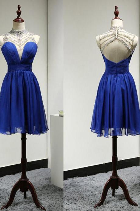 Sparkly Short Royal Blue High Neck Backless Beaded Bridesmaid Dresses ,Short Prom Dresses,Graduation Dresses 2016,Party Dresses,Short Evening Dresses, Short Formal Dress 2016,