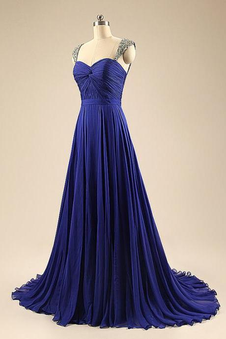 Long Royal Blue Bridesmaid Dress,Floor Length Blue Bridesmaid Dresses,Elegant Long Cheap Beaded Prom Dresses Party Evening Gown
