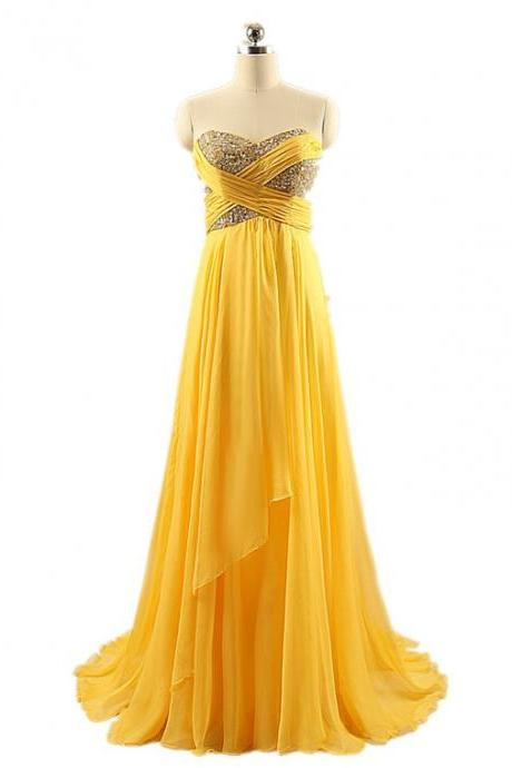 Charming Yellow Floor Length Chiffon Rhinestones Beaded Embellished Sweetheart Prom Dresses