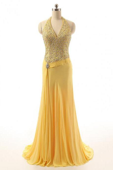 Sparkly Halter Chiffon Rhinestones Beaded Embellished Prom Dresses With Halter Neckline