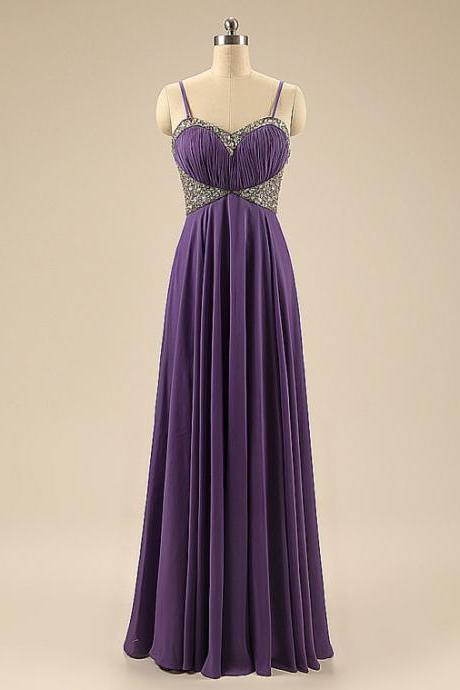 Chiffon Halter Purple Beaded Embellished Prom Dresses With removable spaghetti straps- Formal Dresses,Evening Gowns