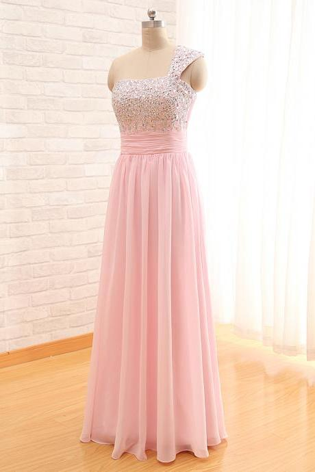 Marvelous Pink One Shoulder Formal Dresses Floor Length Ruched Beaded Embellished Chiffon Party Prom Gowns
