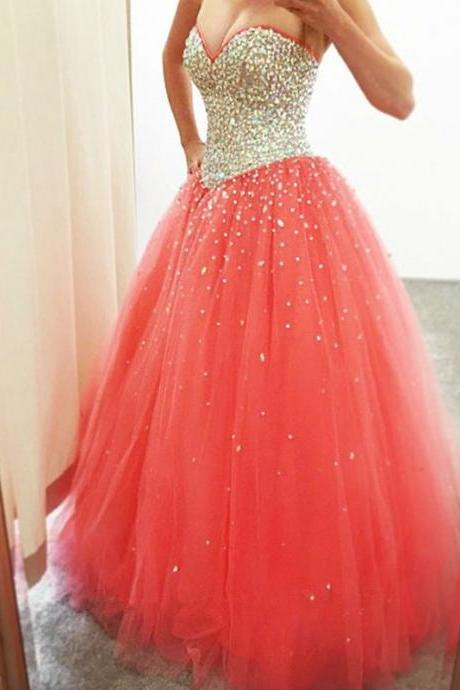 Elegant Long Coral Ball Gown Sweetheart Tulle Prom Dresses With AB Rhinestones