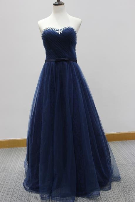 Dark Navy Sweetheart Neckline Long Prom Dresses Long Elegant Strapless Rhinestones Formal Gowns