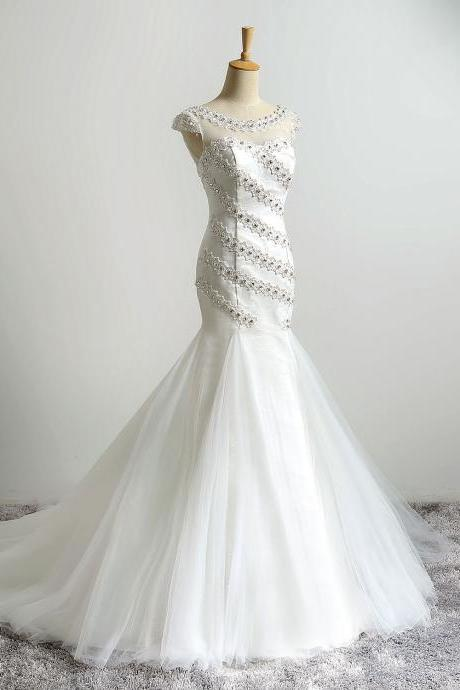 2016 Ivory Illusion Jewel Neckline Mermaid Wedding Dresses Long Vintage Beaded Wedding Bridal Gowns