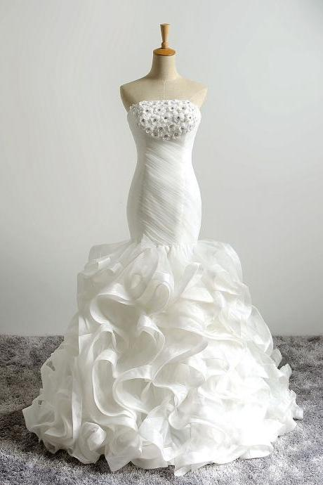 Ivory Floor Length Ruffle Trumpet Wedding Dress Featuring Ruched Strapless Bodice with Floral and Beaded Embellishments