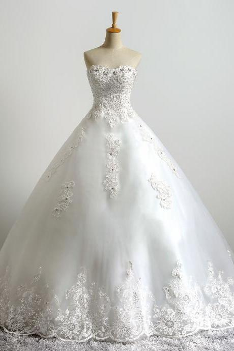 Ivory Floor Length Lace Tulle Wedding Gown Featuring Lace Appliqués and Rhinestones Embellished Sweetheart Bodice
