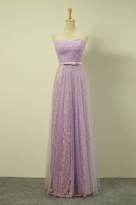 Long Elegant Light Purple Sweetheart Ruched Lace Prom Dresses- Evening Gowns, Formal Dresses