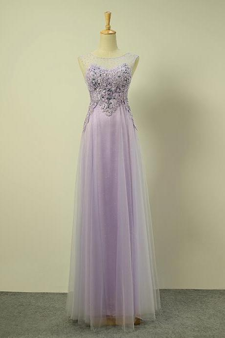 Long Elegant Light Purple Illusion Jewel Neckline Prom Dresses With Rhinestones And Lace Appliques - Evening Gowns, Formal Dresses