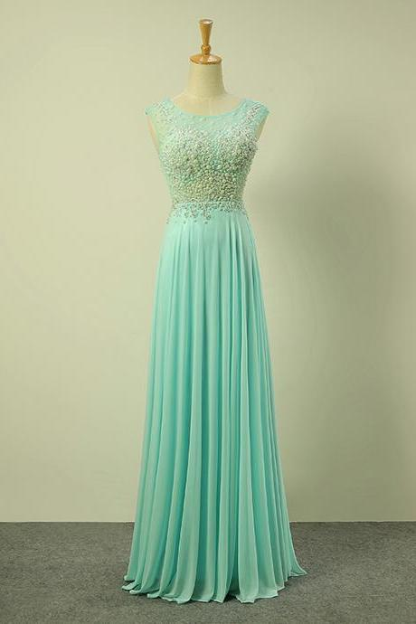 Sexy Long Mint Green Illusion Jewel Neckline Beaded Prom Dresses With See Through Back - Evening Gowns, Formal Dresses
