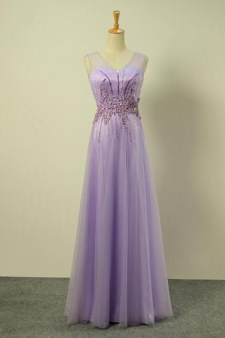 Sparkly Floor Length Light Purple V Neck Sequined Prom Dresses 2016 - Evening Gowns, Formal Dresses