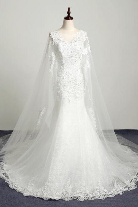 Sheer Neck Mermaid Wedding Dresses With Watteau Train Long Lace Wedding Gowns