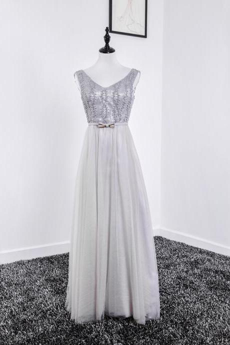 Long Silver Evening Dresses V Neck Tulle Beaded Prom Dress Long Elegant Formal Gowns Robe De Soiree