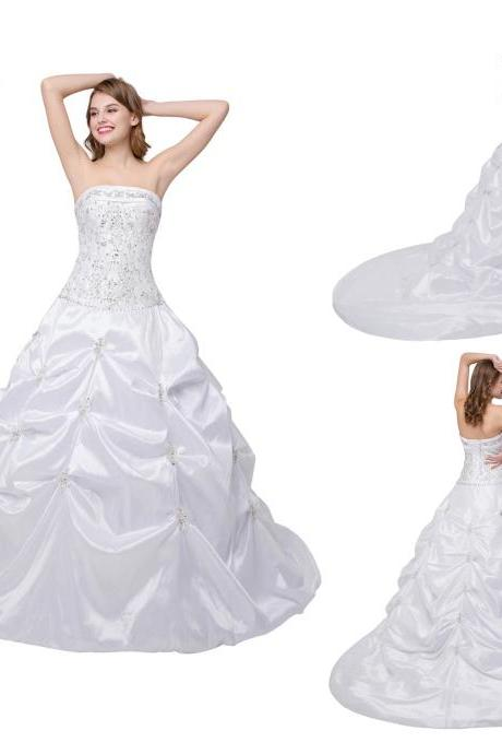 White Ivory Embroidered Taffeta Wedding Dresses Featuring Beaded Bodice And Chapel Train, Long Elegant Wedding Party Gowns