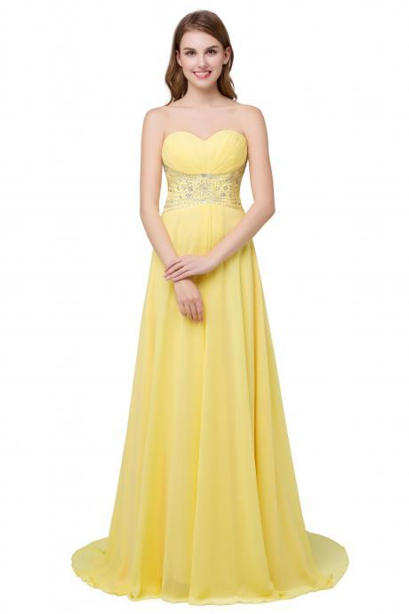 Yellow Beaded Chiffon A Line Bridesmaid Dress With Ruched Bodice