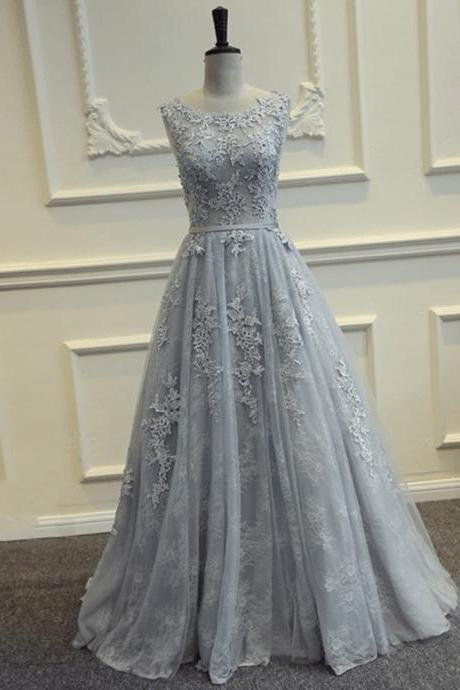 Charming Gray Lace Appliques Tulle Formal Dress Featuring Sheer Bateau Neckline And Open Back