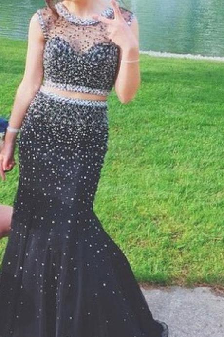 Sexy Black Rhinestones Beaded 2 Piece Prom Dresses Featuring Sheer Bateau Neckline
