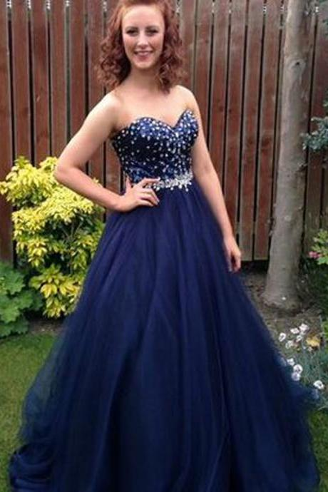 Navy Blue Floor Length Tulle Formal Gowns Featuring Rhinestones Beaded Bodice With Sweetheart Neckline