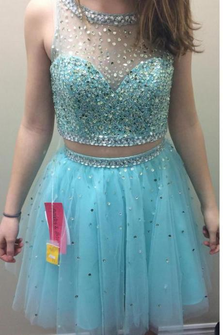 Light Blue Beaded Tulle Two Piece Homecoming Dresses,Short Prom Dresses Featuring Sheer Bateau Neckline