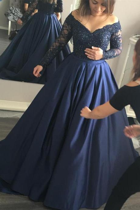 Charming Satin Floor Length V Neck Navy Blue Prom Dress , Long Sleeve Prom Gown,Party Dresses, Evening Dresses 2017, Long Elegant Prom Dress
