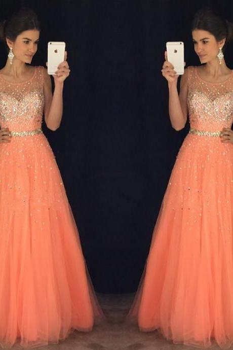 Orange Long Tulle A-Line Formal Dress Featuring Beaded Sheer Neck,Long Elegant Prom Dresses