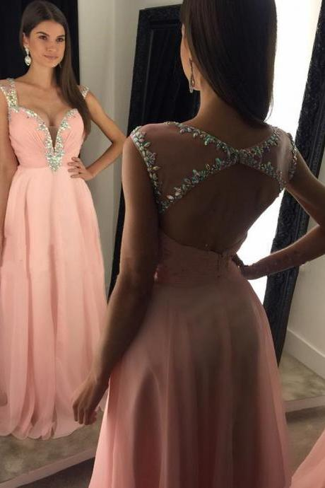Sexy Long Pink Prom Dresses With Plunge V Neck Evening Dresses 2016 Real Photo Wedding Party Dresses Formal Gowns