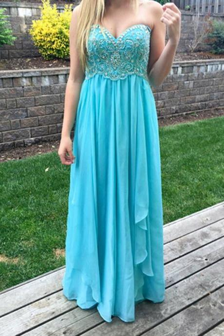 Charming Long Light Blue Chiffon Sweetheart Formal Dresses - Evening Gowns, Prom Dresses